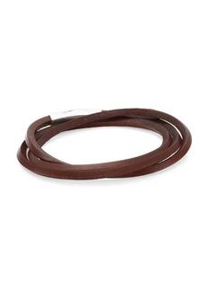 Tateossian Fetuccinni Silver & Leather Double Wrap Click Scoubidou Bracelet