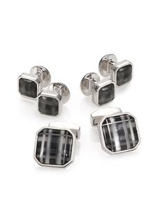 Tateossian Fog Black Glass Rhodium Plated Cuff Link & Stud Set