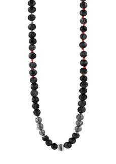 Tateossian Formentera Sterling Silver & Black Agate Beaded Necklace