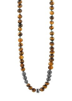 Tateossian Formentera Sterling Silver & Tiger's Eye Beaded Necklace