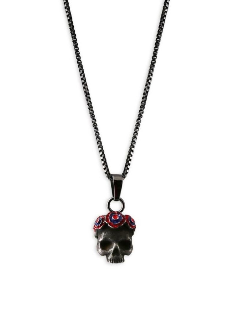 Tateossian x Grateful Dead Gothic Rose Skull Stainless Steel Pendant Necklace