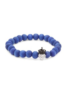Tateossian King Skull Crystal and Silver Beaded Bracelet