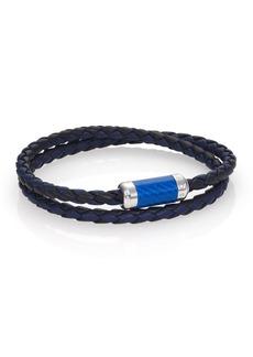 Tateossian Leather, Carbon Fiber & Sterling Silver Bicolor Braided Bracelet