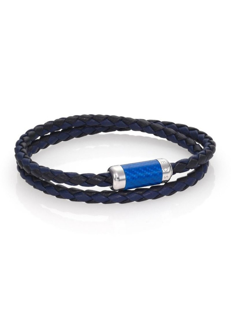 Tateossian Leather, Carbon Fiber & Sterling Silver Bicolor Braided Bracelet