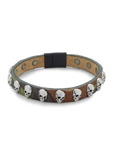 Tateossian Leather Skull Bracelet