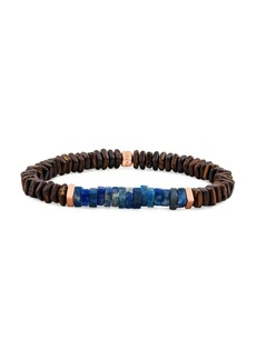Tateossian Legno Wood & Lapis Lazuli Beaded Bracelet