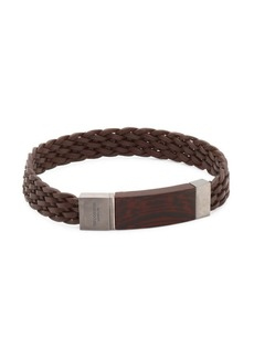 Tateossian Madera Silver, Wood & Leather Braided Bracelet