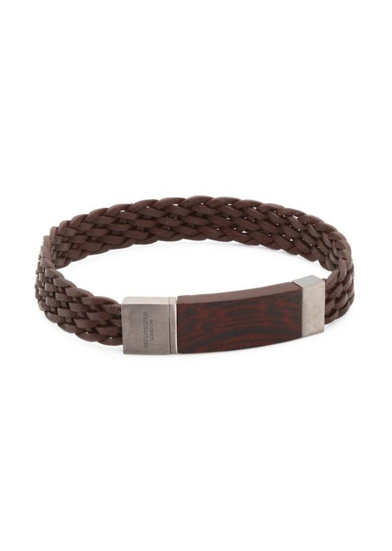 Tateossian Madera Silver, Wood & Leather Braided Bracelet