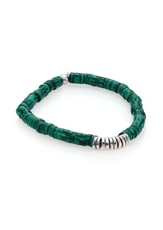 Tateossian Malachite & Sterling Silver Bamboo Bracelet