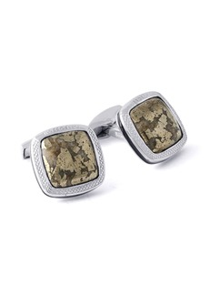 Tateossian Men's Limited-Edition Square Mica-Fleck Chalcopyrite Stone Cuff Links