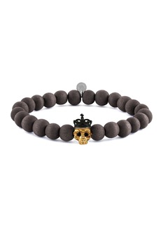 Tateossian Men's Natural Bead & Skull Bracelet  Size L