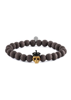 Tateossian Men's Natural Bead & Skull Bracelet  Size M