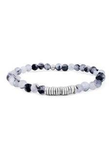 Tateossian Men's Round Rutilated Quartz Beaded Bracelet