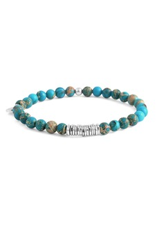 Tateossian Men's Semiprecious Beaded Disc Bracelet  Turquoise  Large