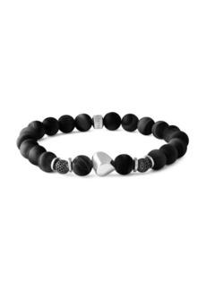 Tateossian Nugget Silver Black Agate & Sterling Silver Bracelet