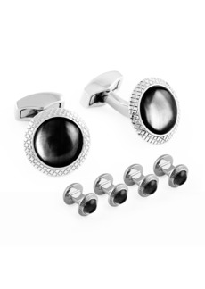 Tateossian Rhodium-Plated Cuff Links & Stud Set