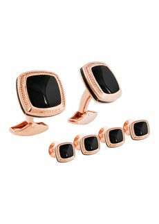 Tateossian Rose Gold & Onyx Cuff Links & Stud Set