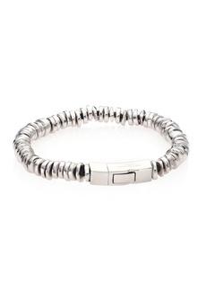 Tateossian Scoubidou Leather & Sterling Silver Disc Beads Bracelet