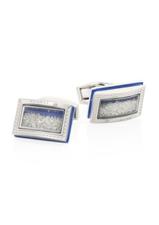 Tateossian Signature Diamond Dust Rhodium-Plated Brass Cuff Links