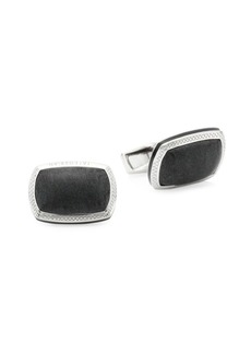Tateossian Signature Pillow Onyx & Sterling Silver Cushion Cufflinks