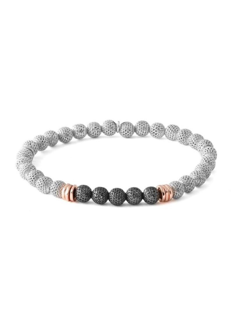 Tateossian Silver Mesh Beaded Bracelet