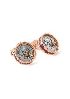 Tateossian Skeleton Gear Round Pink Goldplated Cuff Links