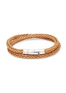 Tateossian Stainless Steel & Braided Leather Bracelet