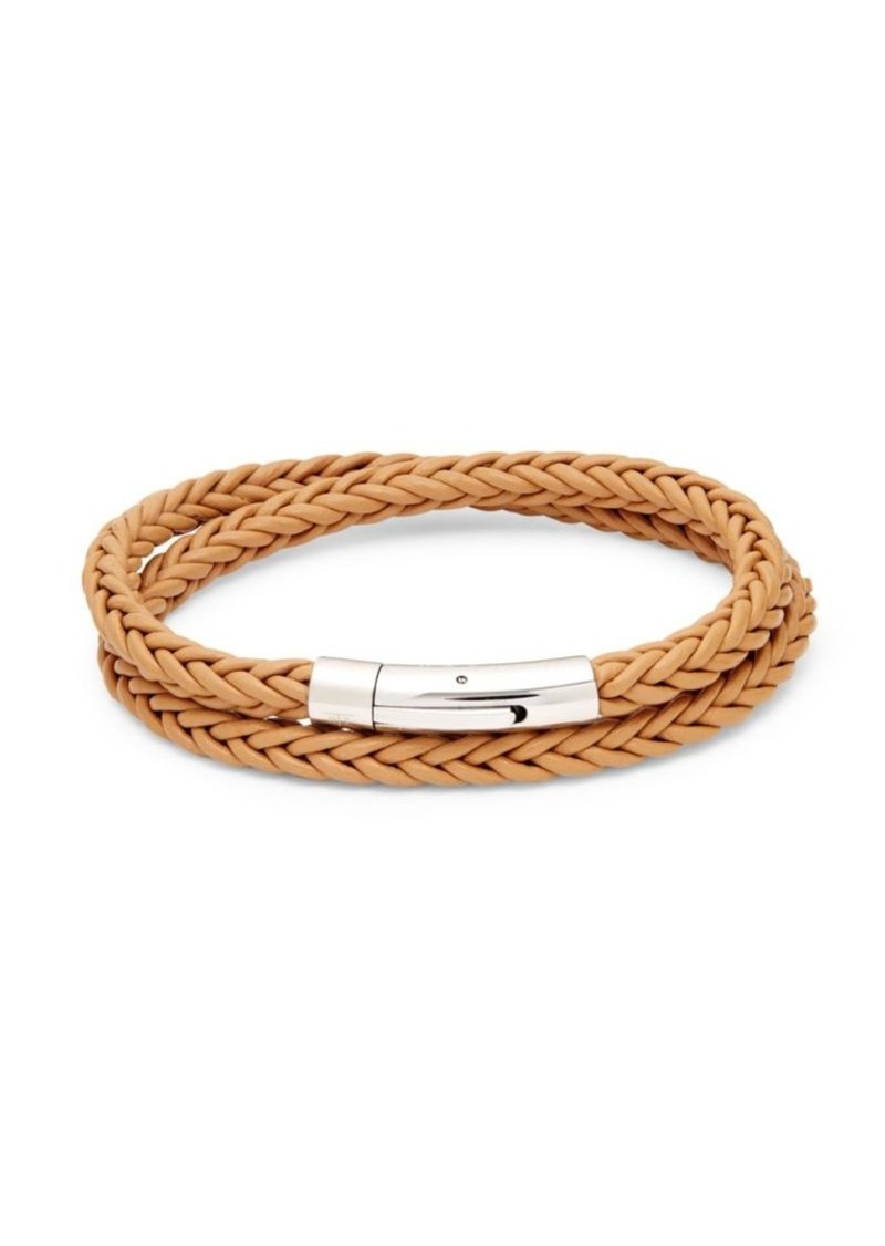 Tateossian Stainless Steel & Braided Leather Bracelet