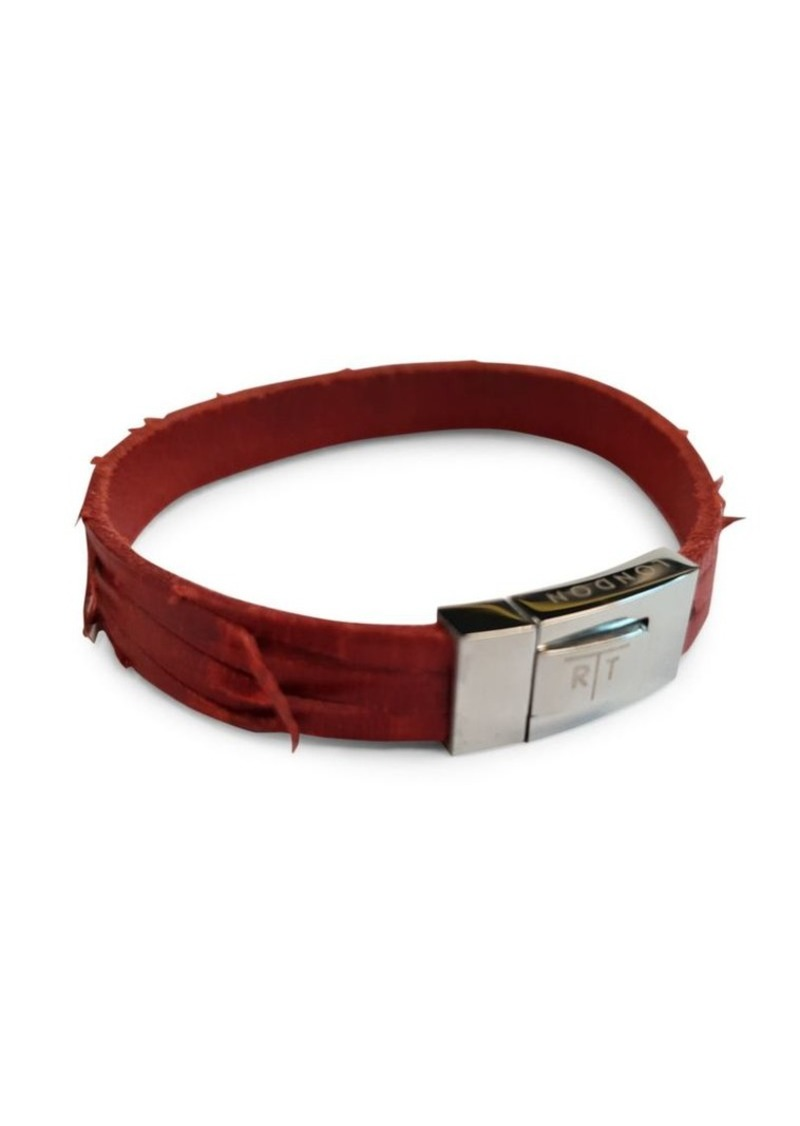 Tateossian Stainless Steel & Leather Bracelet