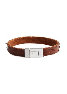 Tateossian Stainless Steel & Leather Distressed Bracelet
