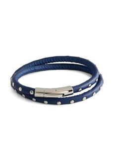 Tateossian Stainless Steel & Leather Studded Wrap Bracelet
