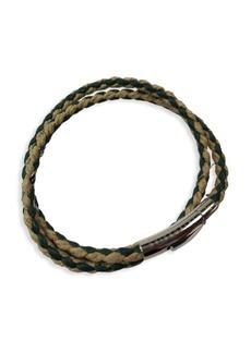 Tateossian Stainless Steel & Leather Wrap Bracelet