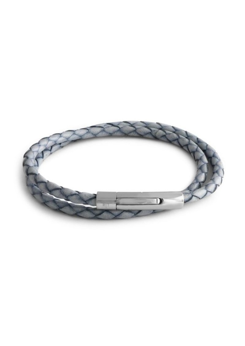 Tateossian Stainless Steel & Woven Leather Wrap Bracelet