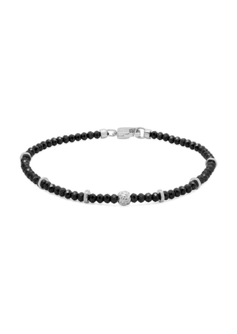 Tateossian Sterling Silver & Black Spinal Beaded Bracelet
