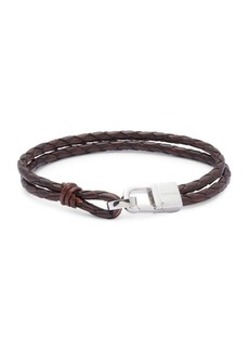 Tateossian Sterling Silver & Classic Leather Bracelet