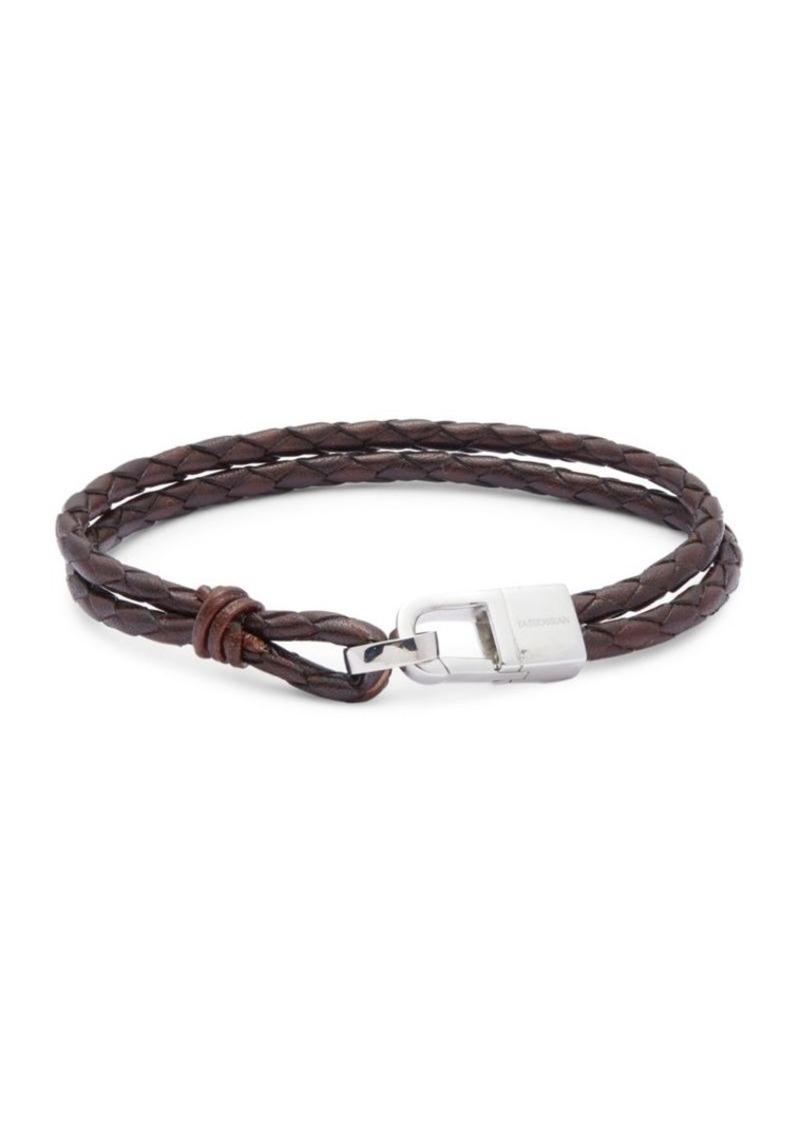 Tateossian Sterling Silver & Classic Leather Bracelet