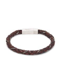 Tateossian Sterling Silver & Leather Bracelet