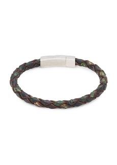 Tateossian Sterling Silver, Leather & Blue Topaz Bracelet