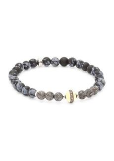 Tateossian Stonehenge Diamond, Jasper & Silver Beaded Bracelet