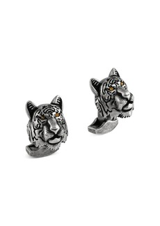 Tateossian Swarovski Crystals & Gunmetal-Plated Tiger Cufflinks