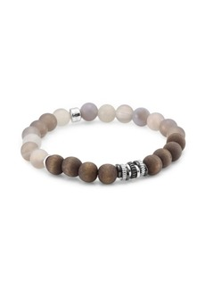 Tateossian Agate and Silver Tri-Tone Bracelet