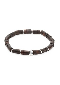 Tateossian Bamboo Silver & Wood Disc Beads Bracelet