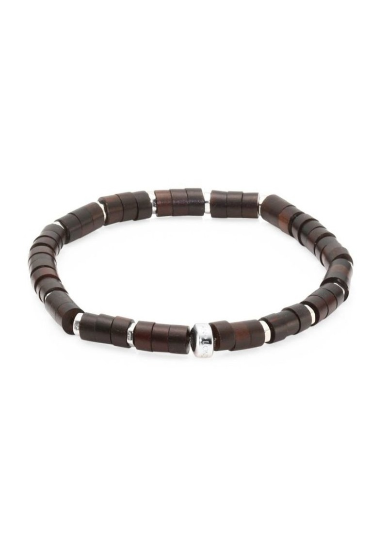 Tateossian Bamboo Silver & Wood Disc Beads Bracelet
