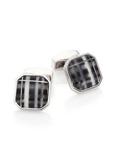 Tateossian Black Tartan Cuff Links