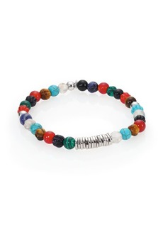 Tateossian Carnelian & Silver Discs Round Beads Bracelet