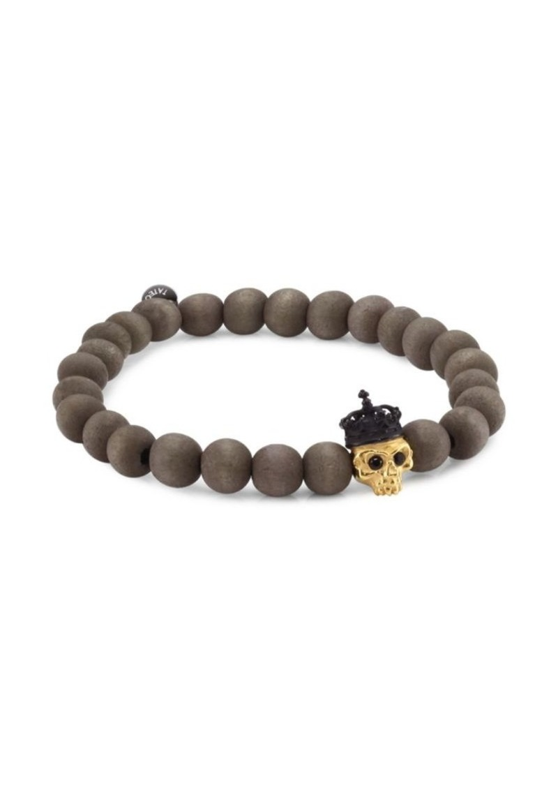 Tateossian Silver, Wood & Crystal King Skull Bracelet