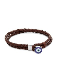 Tateossian Evil Eye Button Silver and Braided Leather Bracelet