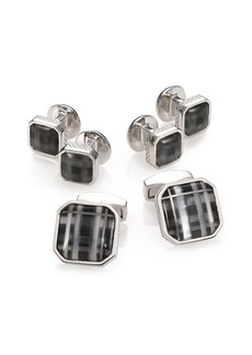 Tateossian Fog Black Glass Rhodium Plated Cuff Link & Stud Set