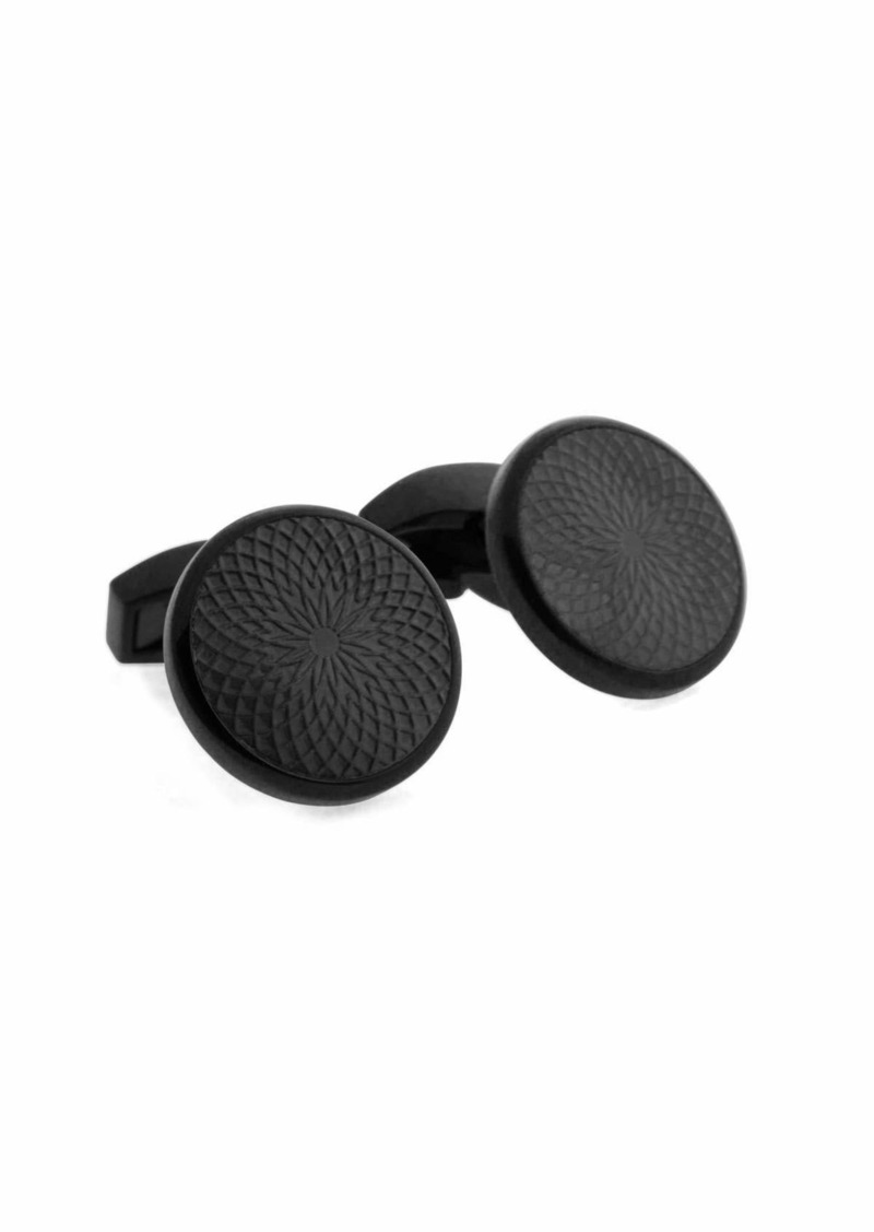 Tateossian Guilloche-Embossed Black-Plated Cuff Links