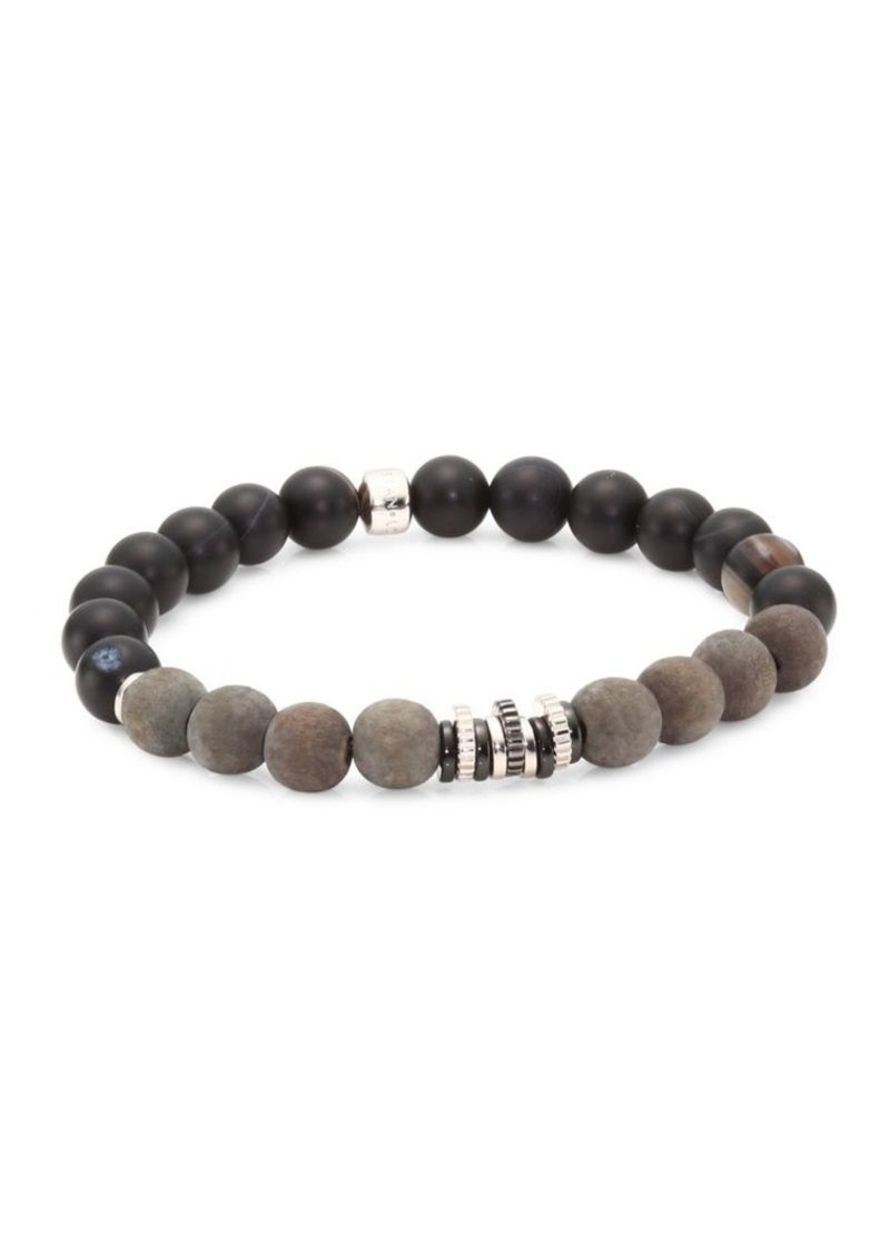Tateossian Java Frost Onyx, Agate, Silver and Wooden Frosted Beads Bracelet